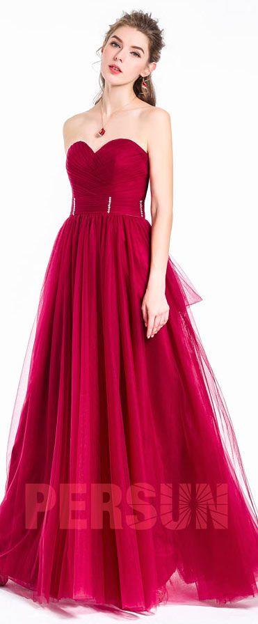 robe de bal rouge longue bustier coeur en tulle