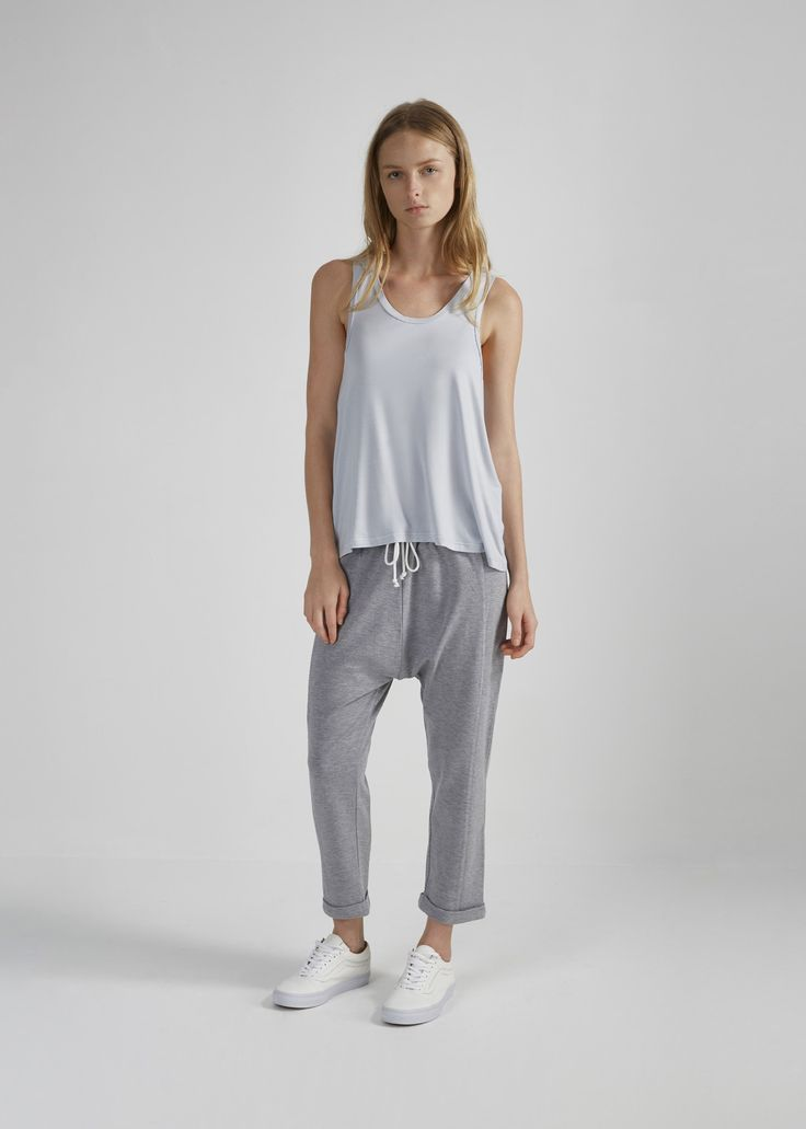 THE FIFTH - Tuning In Drop Crotch Casual Pants In Grey Marle