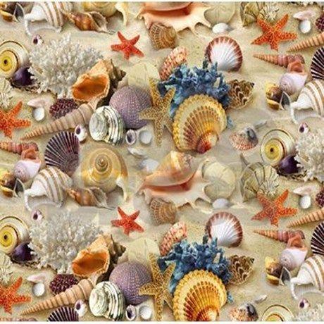 Fancy Seashell Shower Curtain by fabricshowercurtain