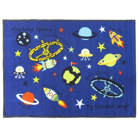 JVL Space Astronomy Blue Childrens Kids Play Mat Nursery Playroom Bedroom, 80 x 110 cm