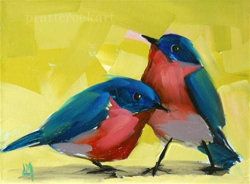 """bluebirds no. 3"" - Original Fine Art for Sale - © Angela Moulton"