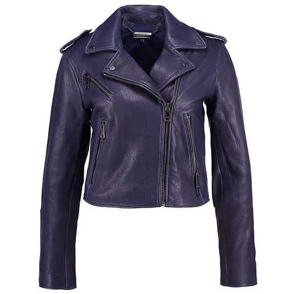 NAIYA Leather jacket blue ($355) ❤ liked on Polyvore featuring outerwear, jackets, 100 leather jacket, leather jackets, real leather jackets, blue leather jacket and blue jackets