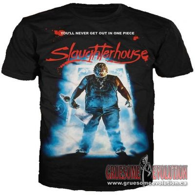 From director; Rick Roessler, comes this poster shirt from his movie Slaughterhouse.  Shirt is new and is size Large.