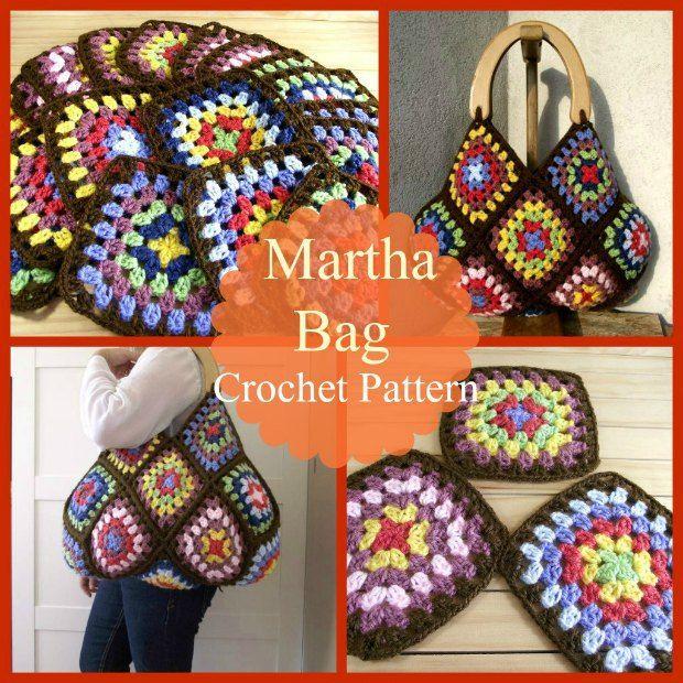 Crochet bag pattern based on granny squares.