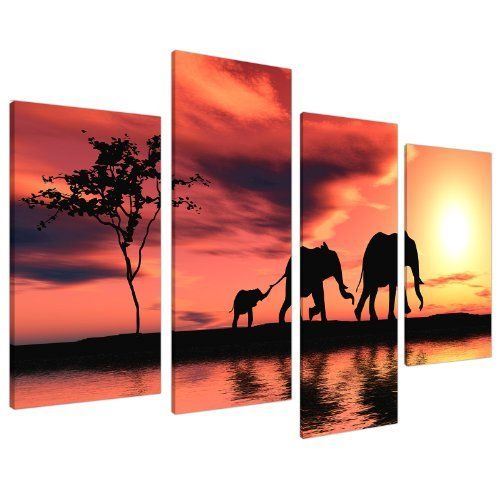 Large Africa Sunset Elephants Canvas Wall Art Pictures Prints XL 4102 by Wallfillers Canvas, http://www.amazon.co.uk/dp/B00A1SA4TS/ref=cm_sw_r_pi_dp_ca1Mtb1F08CK6