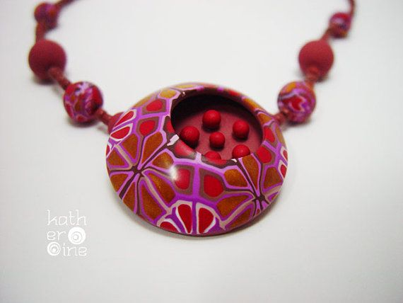 Elegant necklace, Polymer clay jewelry, Boho rich necklace, 3D focal bead, Unique gift for her, Short red necklace, Original motif, Handmade