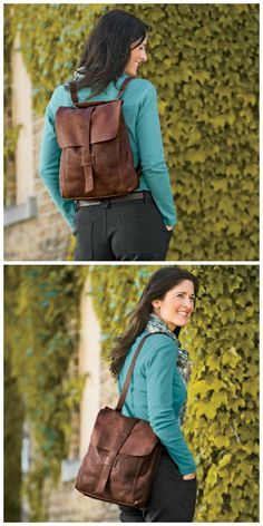 The Lifetime Leather Convertible Messenger Bag from Duluth Trading Company can swiftly switch from a shoulder bag to a backpack. Whichever way you wear it, the full-grain oiled leather gains character and richness with age.