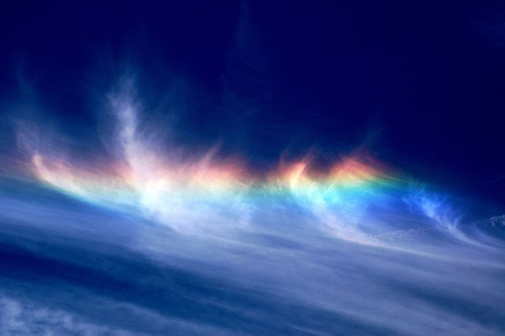 Another summertime occurrence, fire rainbows appear when sunlight hits frozen ice crystals in high-altitude cirrus clouds. Because the fire rainbow actually involves no rain at all, scientists would rather we refer to this occurrence by its much less fun, but much more accurate title: the circumhorizonal arc.