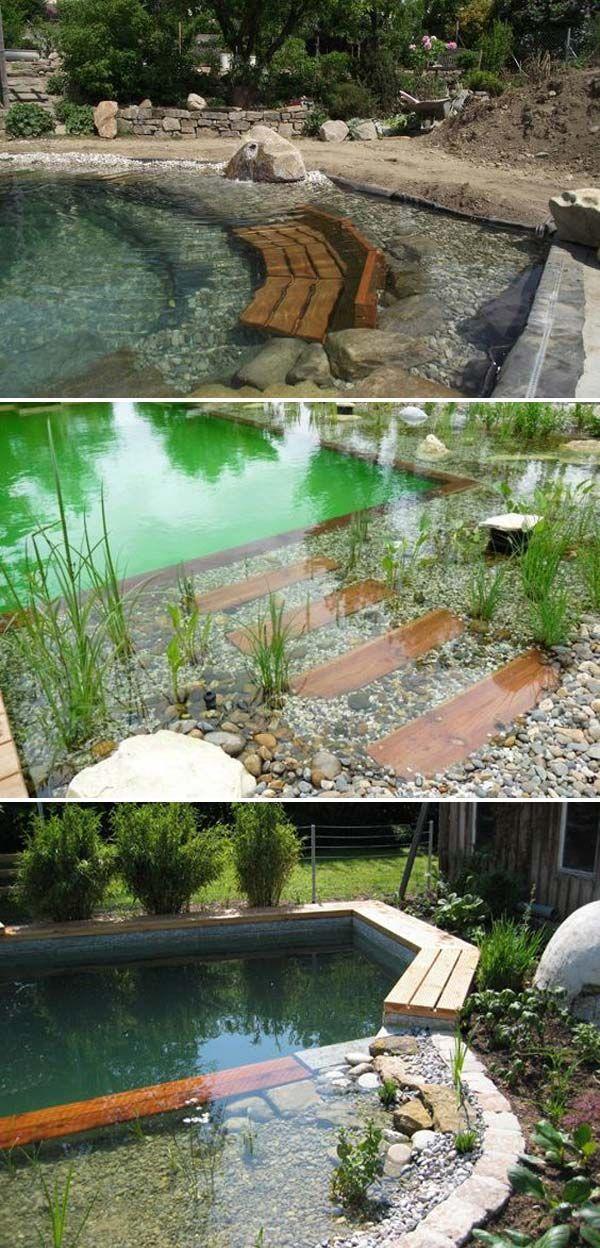 Natürlicher Swimmingpool mit versteckten Bänken. #naturalpool