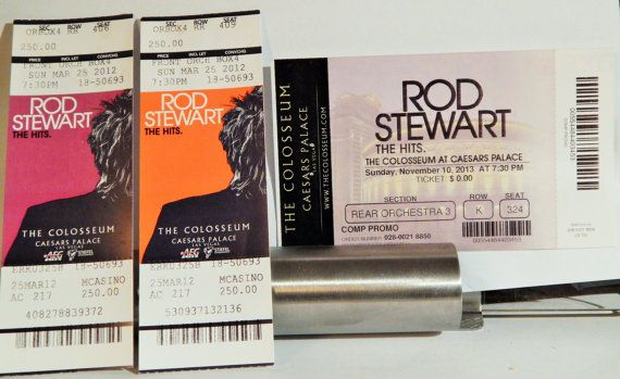 ROD STEWART Lot of 3 Different Caesars Colosseum Original Used Show Tickets; Great Rock Souvenirs, Nice To Display; Colorful Designs
