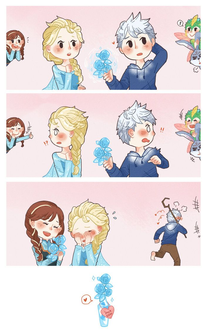 Jelsa. So cute! Anna and the guardians are spying on Jack and Elsa.