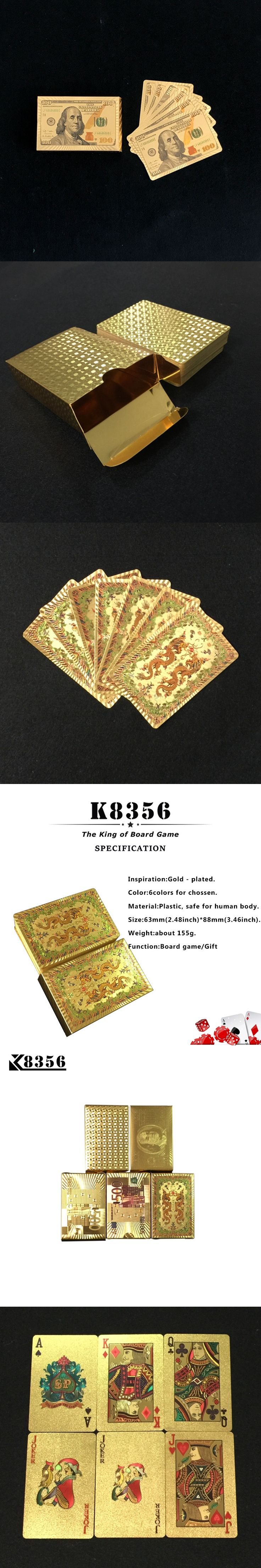 K8356 10Sets/Lot Gold Foil Plated Texas Hold'em Plastic Playing Cards Waterproof Poker Cards Board Game 2.48*3.46 inch Wholesale