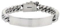 """Sterling Silver 7/16"""" (11.0 mm) Wide, Cuban (Curb) Link Men's ID Bracelet in 8"""", 8 1/2"""" & 9"""""""