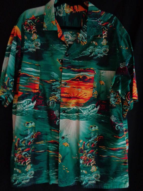 Vintage Hawaiian shirt green with coral and by vintagewayoflife