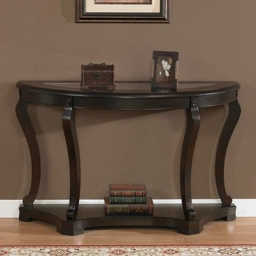 Espresso Entry Foyer Table : Half round sofa table end furniture living wood glass