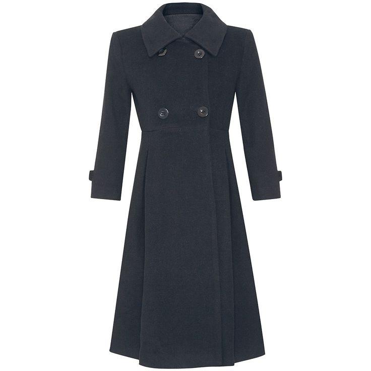 Abrigo premamá largo y en color negro, en tejido de paño.  De corte elegante, hombros entallados, ¡estiliza mucho la figura!