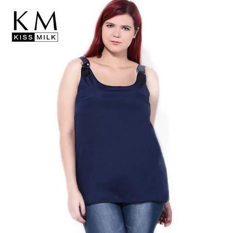 b07bb5d1c0517 Kissmilk Plus Size 2018 Summer Women Loose Chiffon Tank Top Navy Blue Sexy  O-neck Top Sleeveless Off Shoulder Casual Tank Top