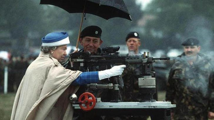 Queen Elizabeth looks like a natural behind the helm of an L85 battle rifle. In 1993, she unloaded one in Surrey, England.