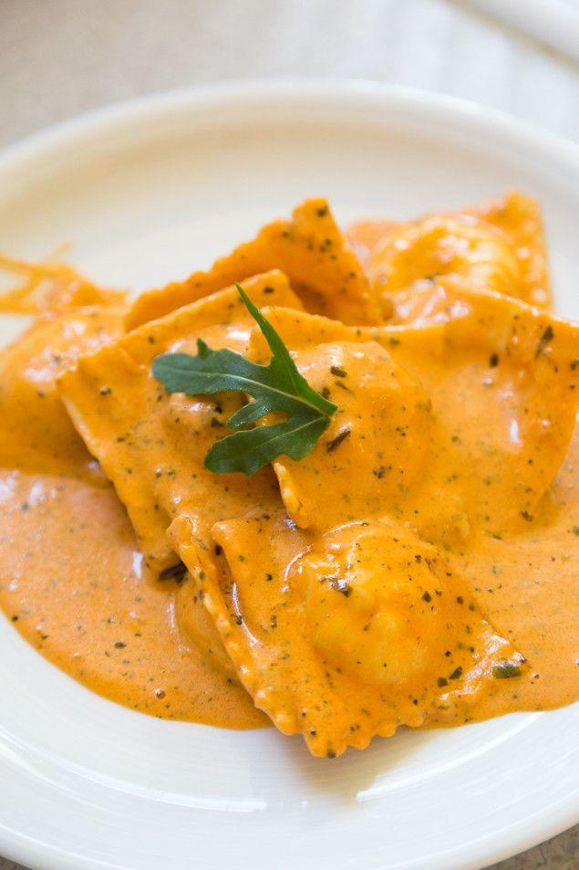 Giorgio's Homemade Salmon Ravioli in a Creamy Tomato Sauce