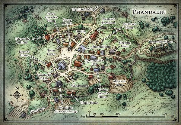 """Phandalin This map of the Forgotten Realms village of Phandalin was originally created as the home base for the D&D Starter Set adventure """"Lost Mine of Phandelver""""."""