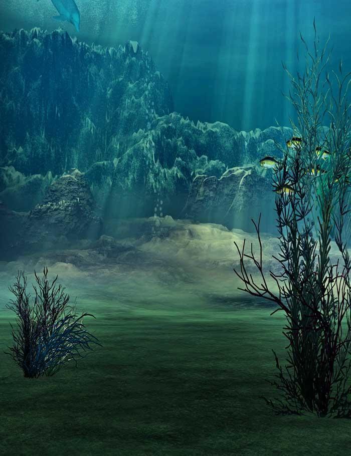 Deep In Oceans Depths Oasis For Children Photography Backdrop J 0361 Ocean Landscape Painting Ocean Landscape Ocean Underwater