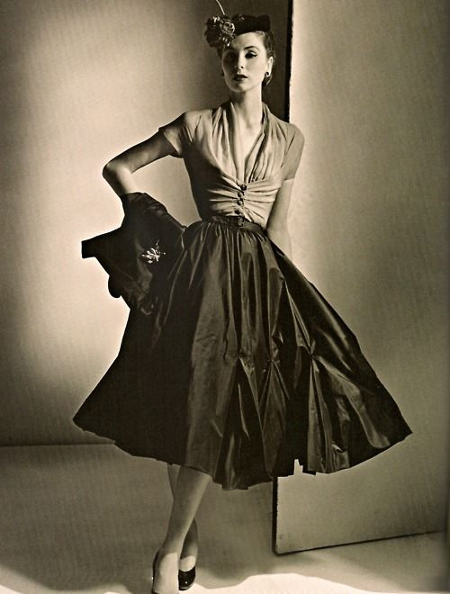 The skirt looks like a de-veined umbrella.  /intriguing theyroaredvintage:  Complete ensemble by Dior, 1952.