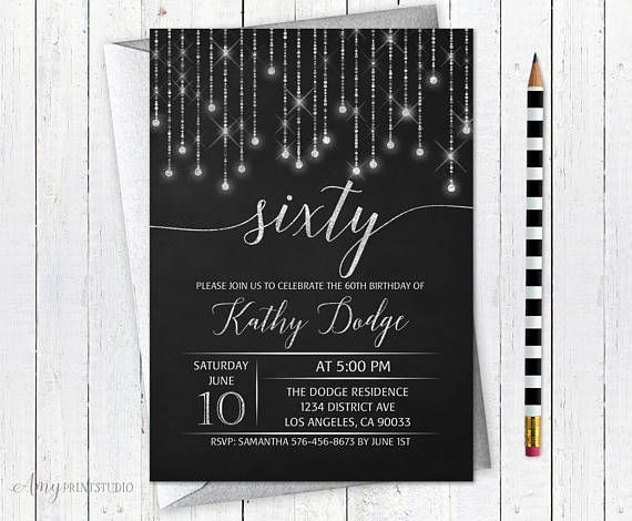 60th Birthday Invitation Chalkboard Birthday Invite Glam