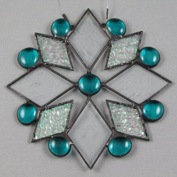 Snowflake Stained Glass Suncatcher  Teal by AngelasGlassStudio, $16.00