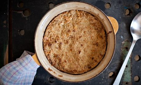 Ooohh! Pear, almond and cinnamon crumble. Photograph: Mike Lusmore