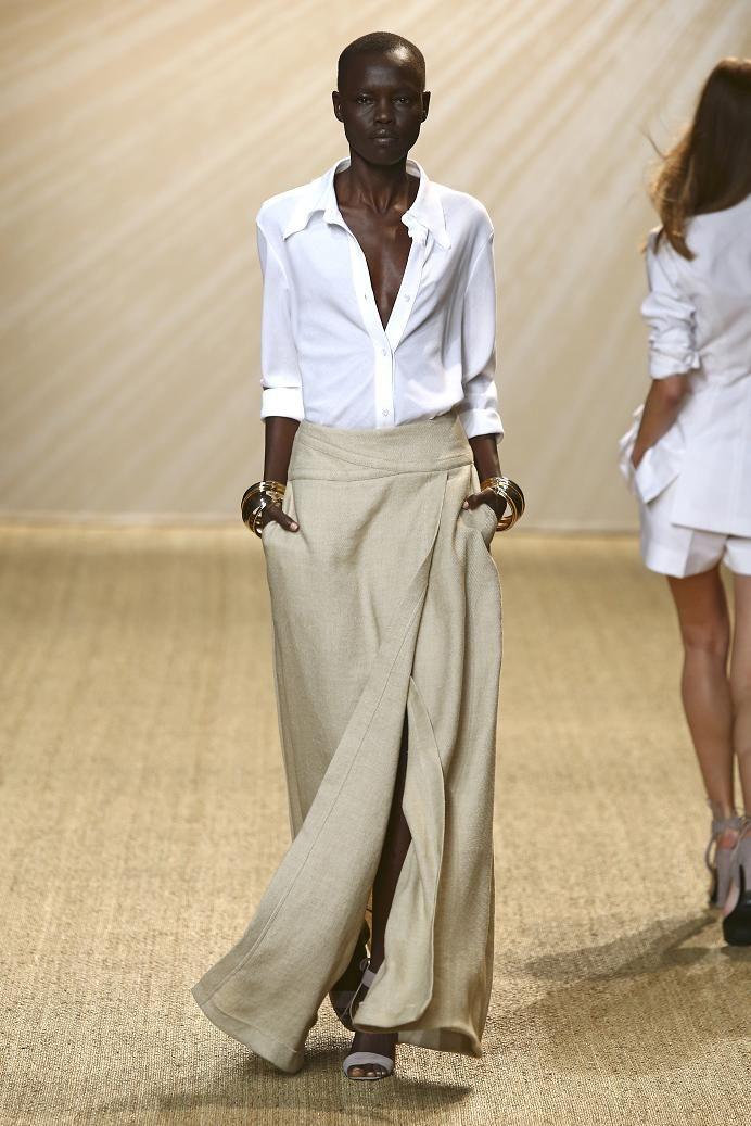 White button-down shirt + beige wrap maxi skirt + beige sandals :: Printemps-été Paris :: Pascal Millet