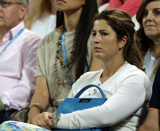 Tense: Roger Federer's wife Mirka was also in attendance at the tournament, appearing nervous while her husband took on German player Tobias Kamke
