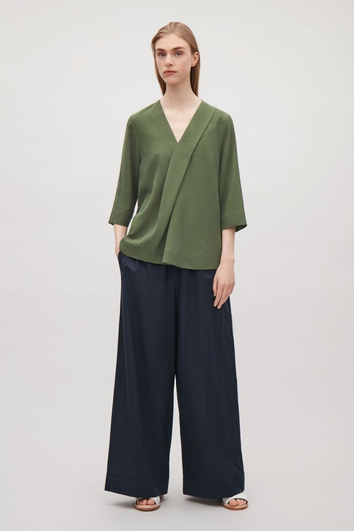 COS | V-neck top with front pleats