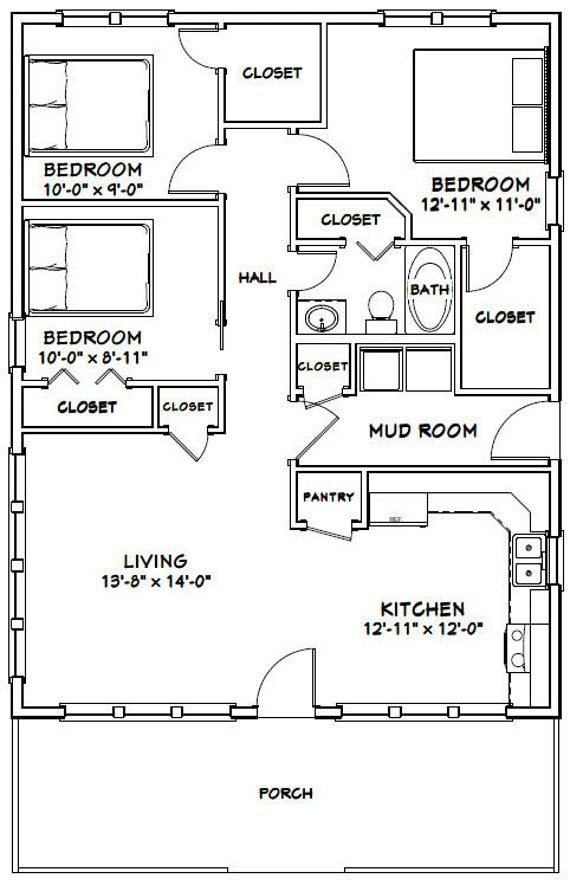 28x36 House 3 Bedroom 1 Bath 1008 Sq Ft Pdf Floor Etsy Small House Floor Plans Bedroom Floor Plans Floor Plans