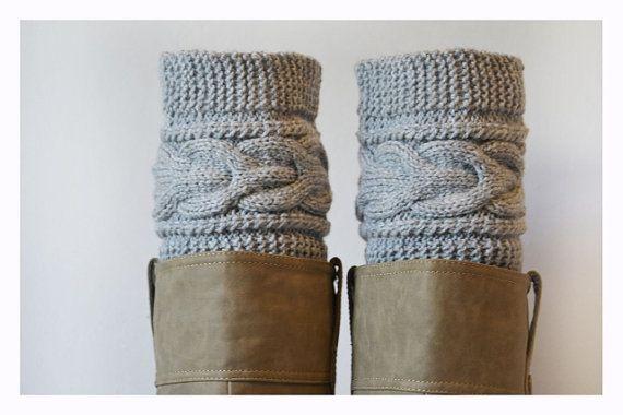 Grey Boot Cuffs ,Women Leg warmers , Hand knit leg warmers