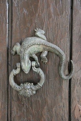 When a door knocker is simply not enough, it must hang from a lizard.  I like it.