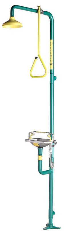 Speakman SE-616 Combination Shower with SE-505 Eyewash Twin Aerated Sprays Sta Yellow / Green Emergency Equipment Eye Wash Eye Wash / Shower