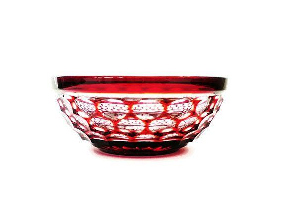 Decorative Glass Bowl Vintage Garnet Red by vintagebiffann on Etsy, $35.00