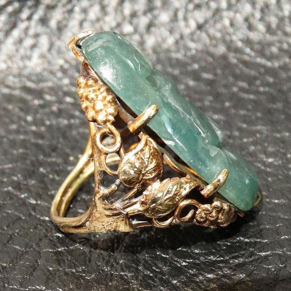 Antique Jade Ring Arts and Crafts Carved Jade by ElegantArtifacts