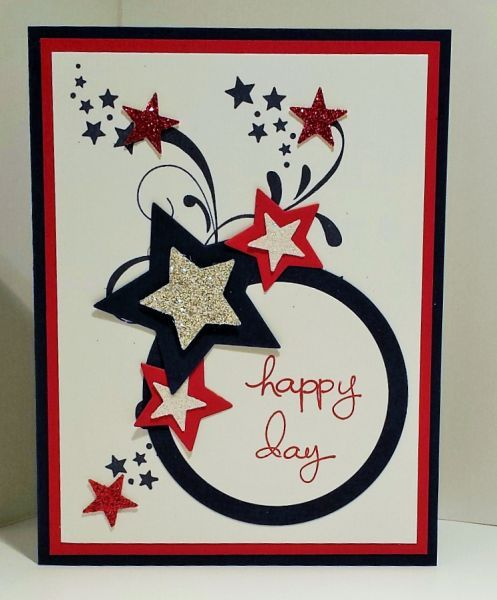 Stamps: Be the Star, Everything Elenor, Endless Birthday Wishes Paper: Whisper White, Night of Navy, Real Red, Glimmer paper Ink: Night of Navy, Real Red Accessories: Star Thinlet, Circle Thinlet, Big Shot, Small Star Punch