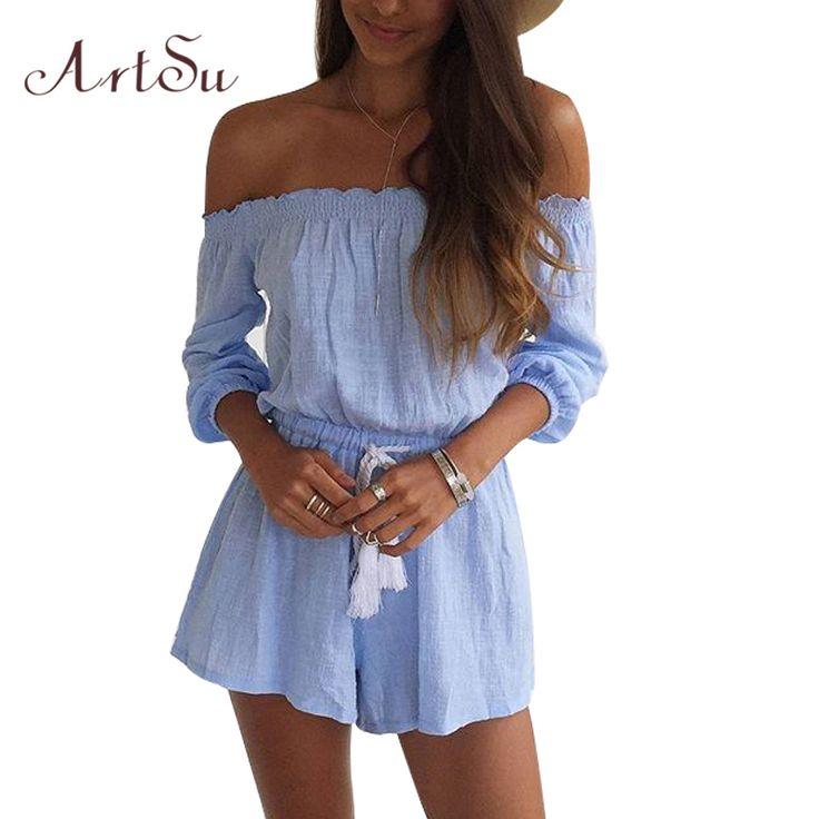 Artsuファッション青いジャンプスーツ女性短いタッセルcombinaison短いファムジャンプスーツロンパースは、ジャンプスーツレディースcombinaisonファムJU5196
