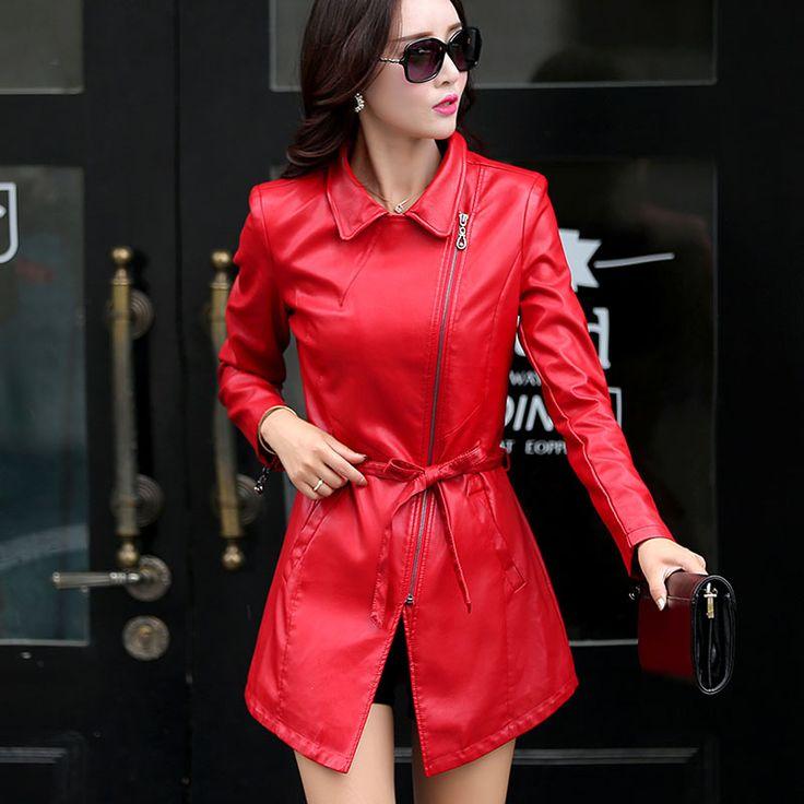 Длинные кожаные куртки женщин 2016 весна натуральной кожи женский тонкий Большой размер женские плащи овчины верхней одежды пояса