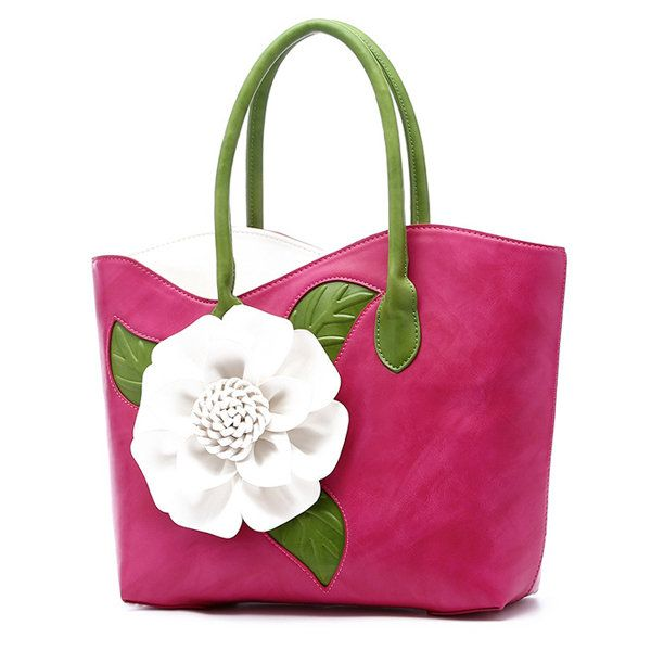 Bernice Women National Style Flower Decoration Handbag PU Leather Sling Bag
