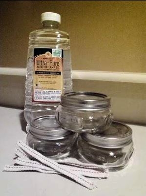 100 Hour Candles.  I think this would be a great idea for citronella candles.  I would mix essential citronella oil with the liquid paraffin. Easy to put away and take outdoors when needed.