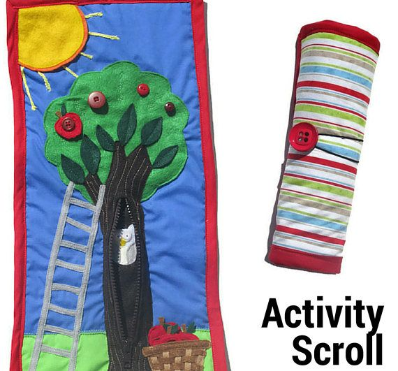 Unzip the zipper to discover who lives inside the tree. Walk your fingers up the felt ladder and explore the variety of leaves on the tree or practice your button skills (dressing skills) by picking an apple and walk back down the ladder to slip it into the hand woven basket on the grass. Practice Big and Small as your child chooses which apple to pick from the felt tree. Feel the double layered felt sun with yarn rays shining down and enjoy the beautiful, bright colours used to make this…
