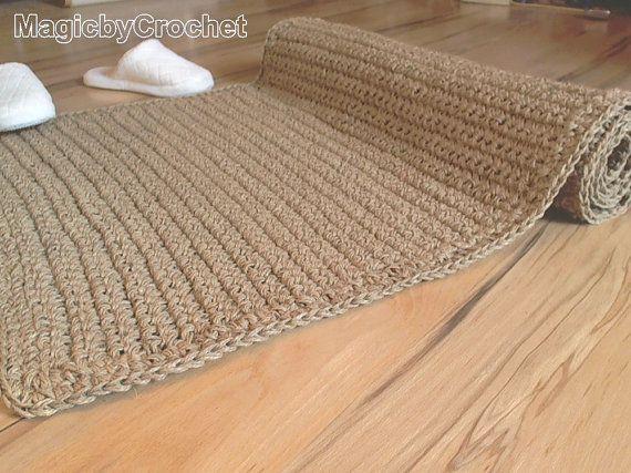 Tapis naturel fibre tapis au Crochet tapis Jute tapis jeter tapis fait à la main scandinave décoration 120 x 90 cm