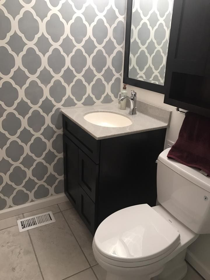A Gray And White DIY Stenciled Bathroom Wall That Looks Like Wallpaper  Using The Rabat Allover