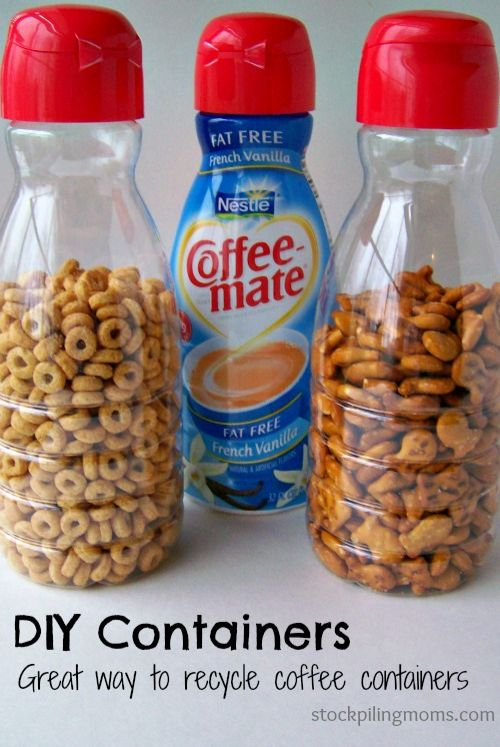 I love these DIY Containers that you make with Recycled Coffee Creamer Containers for Pantry Organization.