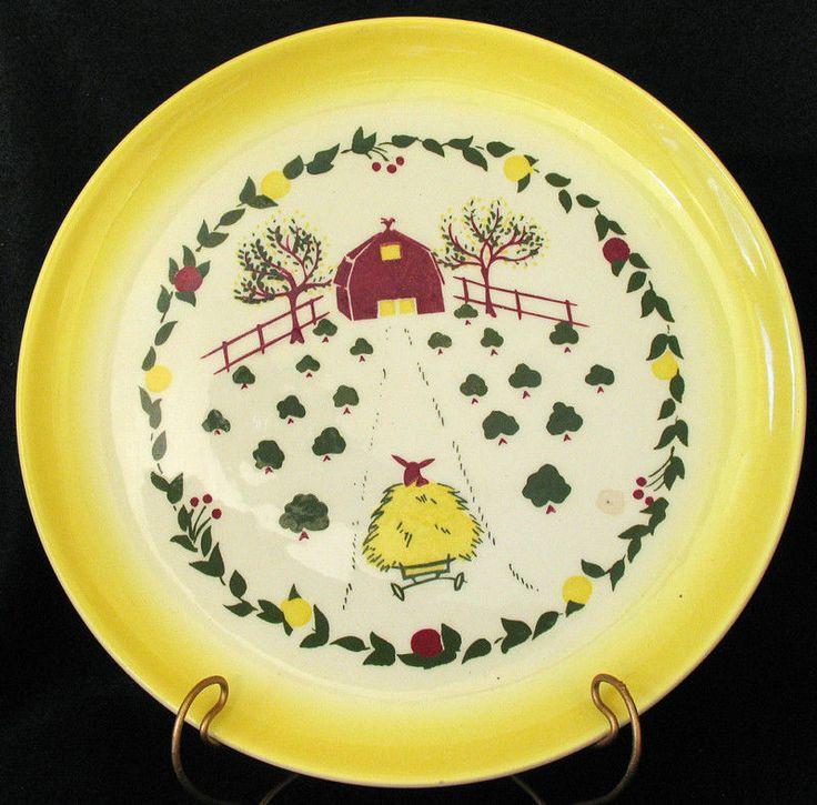 Vtg Brock California Farmhouse Yellow Dinner Plate Barn and Hay Wagon #Brock