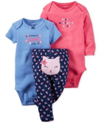 Carter's Baby Girls' 3-Pc. Bodysuits & Pants Set
