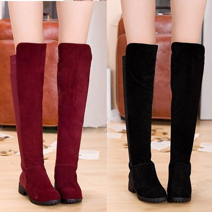 Cheap New Spring Autumn Women Long Boots Patchwork Knee Length Shoes Online black 5.5 | Tomtop